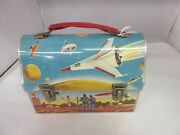 Vintage 1960 Outer Space Dome Top Lunch Box Pail Tin  M-552