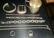 Vintage, .925 Fine Sterling Silver Mixed Jewelry Lot, Rings, Bracelets Chains
