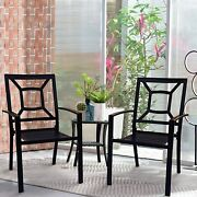 Patio Dining Chairs Set Of 2 Outdoor Furniture Metal Stackable Chairs Garden Pv