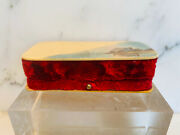 Antique Hand Carved And Painted Velvet Jewel Box.