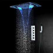 Rainfall Shower Panel With Led Ceiling Phone Controlled With Thermostat And Head