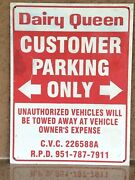 Vintage Dairy Queen Parking Only Metal Sign 18x24