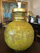 1960s Outrageous Huge Map Of The World Massive Ceramic Table Lamp Mid Century