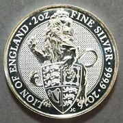 2016 Uk Queens Beasts Lion Of England .9999 Fine Silver 2 Ounces