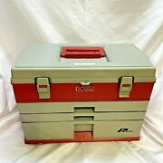 Vintage Plano 833 Tackle Box 3 Drawer Top Storage Red-gray