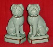 Vintage Andrea By Sadek Pug Dog Bookends Figurines Statues 8 Tall Blue/green