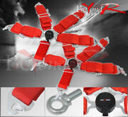 3 Pair Jdm Red Nylon 5 Point Pt Cam Lock Racing Seat Belt Safety Latch Snap On