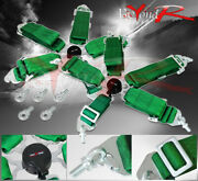 Pair Of 3 Green 5 Point Camlock Harness Racing Seat Belts Strap Quick Snap On