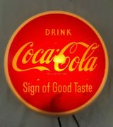 Very Rare Vintage Coca Cola 10andrsquo Button Lighted Sign By Dualite 1950s Minor Wear