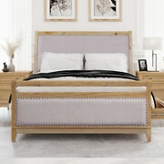 Queen/king Size Rustic Natural Hazel Wood Upholstered Bed Frame With 4 Drawers