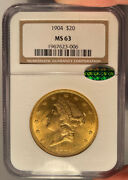 1904 20 Ngc Ms 63 Cac Liberty Gold Double Eagle