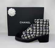 Tweed Pearl Combat Short Boots 39 Black White Cap Toe Authentic Sold-out