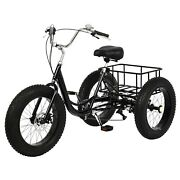 20 Adult Tricycle Trike Fat Tire 3-wheel Bike With Basket For Shopping And Outing