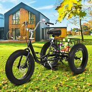20 Trike 7 Speed Adult Tricycle 3-wheel Fat Tire Bike W/basket For Shopping