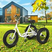 20 Adult Tricycle 3-wheel Trike Fat Tire Cruiser Bicycle W/basket For Shopping