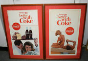 2 X Vintage 1960's Coca Cola Litho Ads Framed Things Go Better With Coke