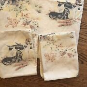 Vtg Hunting Dogs Pheasant 2 Pillow Cases And Sheet/raw Material Pointer Spaniel