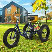 20 Adult Fat Tire Tricycle 3-wheel Trike Cruiser Bicycle W/basket For Shopping