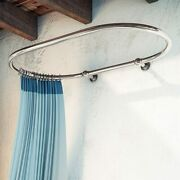 Oval Shower Curtain Rod For Clawfoot Tub Wall Mounted Chrome Finish