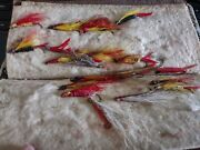 Vintage Fly Fishing Wallet With Old Flies And Crayfish And Helgrammite And Bugs