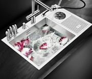 Brushed Metal Stainless Steel Sink With Pressure Washer For Dishes Kitchen Tool