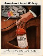 1954 Old Forester Whiskey Nulsen Art Hand Bottle Orchid In Store Volume Sale Ad