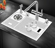 Modern Metal Sink With Dish Drainage Cover Brushed Stainless Steel Kitchen Part