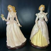 Victorian Blonde Ladies Collectible Figurines Fancy Dress-gowns 10 Set Of 2