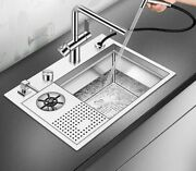 Kitchen Sink With New Cup Rinser High Pressure Washer Brushed Stainless Steel
