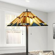 Style Floor Lamp Reading Task Light Stained Glass Vintage 69 Tall
