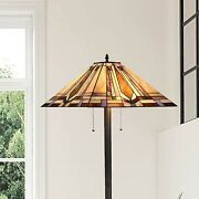 Style Floor Lamp Reading Task Light Stained Glass Vintage 65 Tall