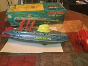 Line Martoys Unused Tin Submarine Made In Japan Masterpiece With Box From Japan