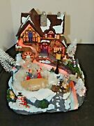 Fiber Optic Christmas Village Skate Pond And Water Wheel Animated And Musical New