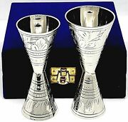 Jiggers Shot Glass Engraved Measure Silver Plating 20304060 Ml 1 Oz With Box
