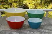 4 Pyrex Primary Color Mixing Bowls 401-404 Gently Used 1-4 Quarts