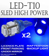 X2 Pair T10 Color Blue 5 Led 5050 Chips License Plates Plug And Play Lights L827