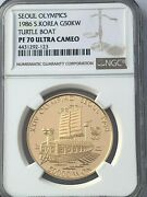 1986 South Korea Gold 50000 Won Turtle Boat Ngc Pf 70 Ultra Cameo Perfection