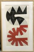 Kumi Sugai Japanese Painting Red And Black Lithograph Framed Good Condition