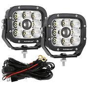 Auxbeam 5inch Led Work Light Bar Spot + Wiring Harness Driving Offroad Atv Boat