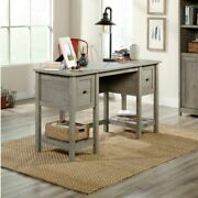 Rustic Gray Farmhouse Wood Desk Computer Writing Storage Table W Drawers Shelves