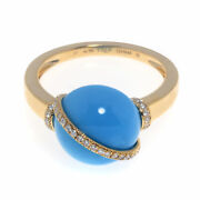 Fred Of Paris Baie Des Anges 18k Yellow Gold Diamond And Turquoise Ring 5.5 4b0931