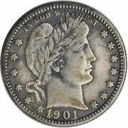 1901-o Barber Silver Quarter Choice Vf Uncertified 1047