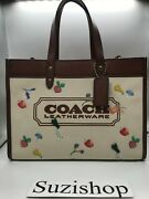 Coach All Over Garden Signature Embroidered Canvas Badge Field Tote Bag Nwt