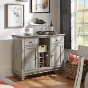 Wine Rack Buffet Server Gray Wood Pull Out Drawer Wine Holder Storage Cabinets