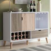 Wine Rack Dining Buffet Server White Frame Brown Wood Drawer Cabinets Storage