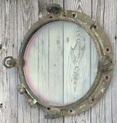 """Old Vtg Antique Nautical Solid Brass Port Hole Ship Circle Glass Boat Window 20"""""""