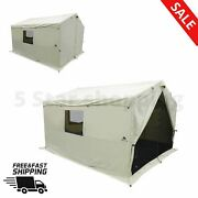 12' X 10' Outdoor Wall Tent Stove Jack Sleeping Camping 6 Person Polyesterbeige