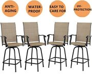 Swivel Patio Chairs Set Of 4 Height Bar Stools Outdoor Bistro Armrest Chair Set