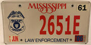 Thin Blue Line Police Officer Sheriff License Plate Government State Official Ms