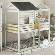 Twin Over Twin Bunk Bed Wood House Bed W/roof Window Ladder Kids Antique White